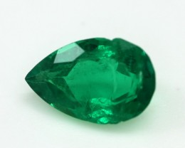 0.79cts Natural Emerald  Pear Mixed Step Cut
