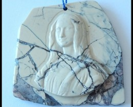 195 ct Purple Picture Jasper Mona Lisa Carving Gemstone Art Gemstone Bead