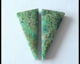 35 ct Natural Chrysocolla Gemstone Pair