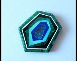 21.5 ct Gemstone Cabochon  Malachite,Obsidian,Turquoise,Lapis,Opal Intarsia