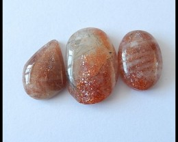 3 pcs Natural Sunstone Cabochons