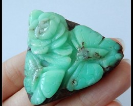 118.35 Ct Natural Chrysoprase Gemstone Flower Pendant Bead