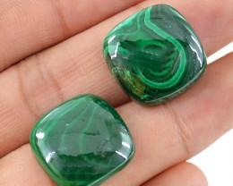 Genuine 55.15 cts Malachite Cabochon Pair
