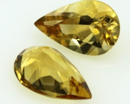 6.74cts Golden Yellow Citrine Matching Pear Shape