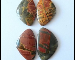 118.85 ct 4 PCS Natural Multi Color Picasso Jasper Cabochons Parcel