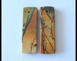 25.2 CT Natural Picasso Jasper Flat Earring Beads