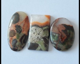 3 PCS Natural Mushroom Jasper Cabcohons,Gemstone & Jewelry