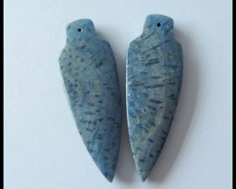 61 ct Blue Coral Fossil Arrow Head Earring Beads(B180471)
