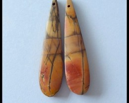 30.4 ct Natural Multi Color Picasso Jasper Earring Beads