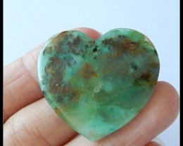 34 ct Heart Shape Chrysocolla Pendant Bead,Green Spring Bead