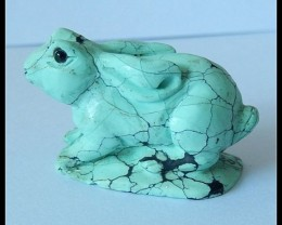 56 Ct Matte Turquoise Bunny Rabbit Gemstone Hand Carving