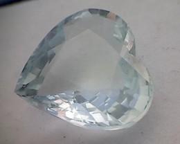 10.15ct Near Colorless Silvery Heart Shaped Aquamarine, NA07
