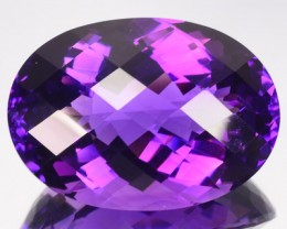 66.26 Cts Natural AAA Violet Amethyst Oval Checker Board Bolivia Gem