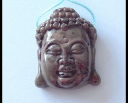 60.25 ct Natural Chohua Jasper Buddha Head Pendant Bead,Family Pendant