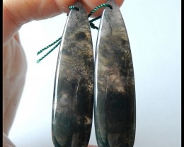 55 Ct Natural Moss Agate Earring Beads