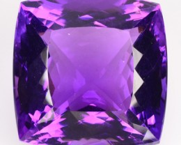 Vibrant 59+ Cts Natural AAA Violet Amethyst Cushion Faceted Uruguay Gem