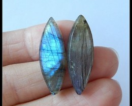 20.7 ct Natural Labradrite Marquoise Pair