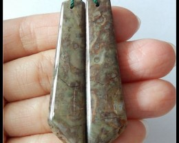 55.25 Ct Natural Mushroom Jasper Earring Beads(B1804450)
