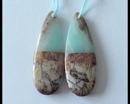 43 ct Natural Amazonite,Chohua Jasper Intarsia Earring Beads