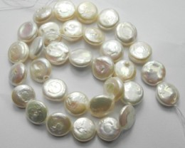 GOOD QUALITY CREAMY WHITE 12MM COIN FRESHWATER PEARL STRAND