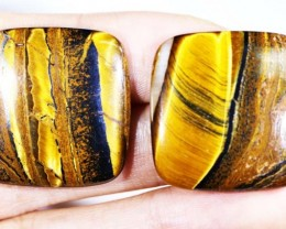 62.5 CTS TIGER EYE   WITH HEMATITE -AUSTRALIA [ST163]