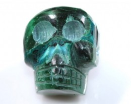 CHRYSOCOLLA SKULL CARVING 44.75 CTS LT-297