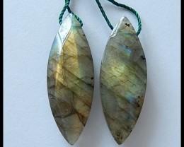 40.7Cts Natural Labradorite Gemstone Earring Beads Wholesale Gem