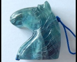 118.7 Ct Natural Rainbow Fluroite Horse Carving Pendant Bead