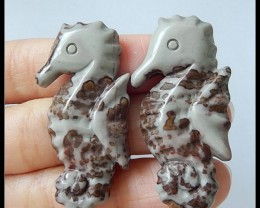 Free Shipping ,Holiday Gift,76.15 CT Chohua Jasper Seahorse Carving Pair