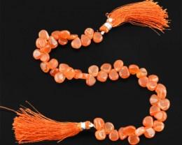 Genuine 117.60 Cts Orange Onyx Beads Strand