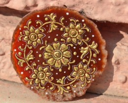 Indian flower Hindu gold hand painted gemstone