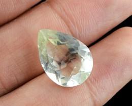 Genuine 8.25 Cts Pear Faceted Prasiolite Gemstone