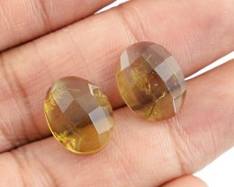 Genuine 9.55 Cts Checkered Cut Smoky Quartz Gemstone Pair