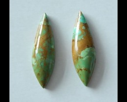 25 cts Natural Turquoise Cabochons,2 pcs