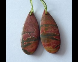 32 ct Natural Multi Color Picasso Jasper Earring Beads
