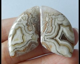 42.15 ct Natural Carzy Lace Agate Gemstone Cabochon Pair