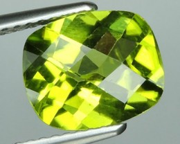 2.50  CTS LUXURY! CHECKER BROAD RICH GREEN PERIDOT CUSHION CUT PAKISTAN
