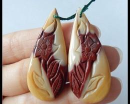 43.05 Ct Natural Mookaite Jasper Flower Carving Earring Beads