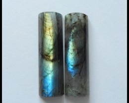 78 Ct Natural Labradorite Gemstone Cabochon Pair ,Gemstone Beads