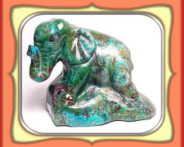 CARVING - 469.5ct Stunning Peru Chrysocolla Carved Elephant