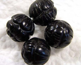 BLACK JET CARVED BEADS (4 PC) 24.25CTS NP-821