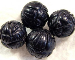 BLACK JET CARVED BEADS (4 PC) 24.20 CTS NP-831