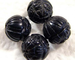 BLACK JET CARVED BEADS (4 PC) 23.60 CTS NP-834