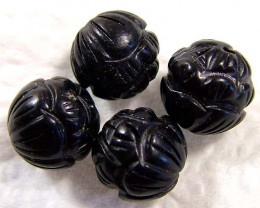BLACK JET CARVED BEADS (4 PC) 22.05 CTS NP-836