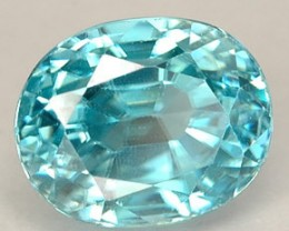 BLUE ZIRCON 1.05 CARAT WEIGHT ROUND PREMIUM QUALITY GEMSTONE