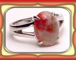 8 x 12 Custom American Made Utah Red Coral Ladies S/S Ring