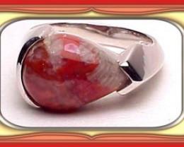 12 x 16 Custom American Made Utah Red Coral Mens S/S Ring