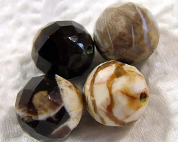 53 CTS  (8 PC)  PETRIFIED WOOD BEADS, NP-148