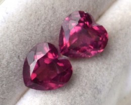 2.21 Carat Matched Pair of Very Nice Pink Garnet Hearts