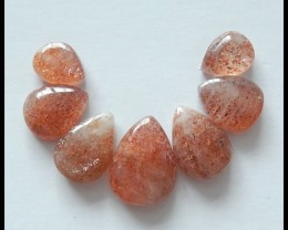 7PCS Natural Sunstone Gemstone Cabochons,30 ct